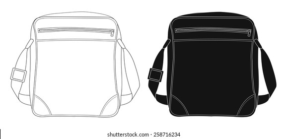 Shoulder bag. Contour lines, silhouette. Vector clip art illustrations isolated on white