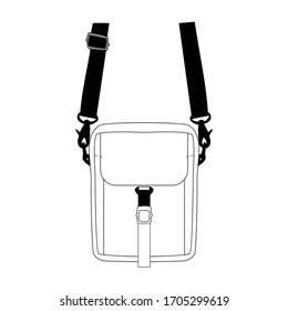 Shoulder bag vector illustration flat sketches template