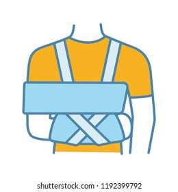 Shoulder immobilizer color icon. Sling and swathe. Broken arm, shoulder injury treatment. Arm fix brace. Isolated vector illustration