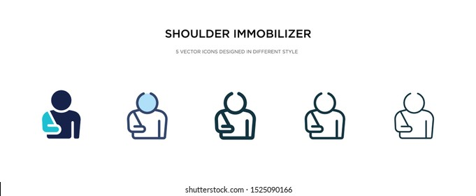 shoulder immobilizer icon in different style vector illustration. two colored and black shoulder immobilizer vector icons designed in filled, outline, line and stroke style can be used for web,