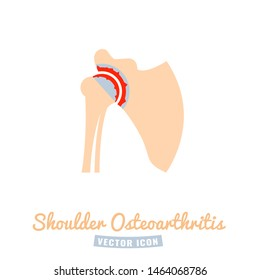 Shoulder osteoarthritis icon. Arthritis pictogram. Joint pain. Editable vector illustration isolated on a white background. Medical, healthcare, elderly diseases graphic concept