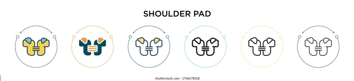 Shoulder pad icon in filled, thin line, outline and stroke style. Vector illustration of two colored and black shoulder pad vector icons designs can be used for mobile, ui, web