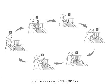 shoulder passive range of motion exercise sequencing step in stroke patient simple line drawing design set