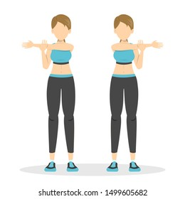 Shoulder stretch exercise. Stretch to relieve shoulder pain. Idea of healthy and active lifestyle. Cool down workout. Isolated vector illustration in cartoon style