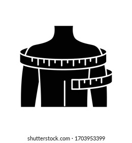 Shoulders circumference black glyph icon. Clothing size measurements, tailoring silhouette symbol on white space. Man upper body width specification for bespoke suit. Vector isolated illustration