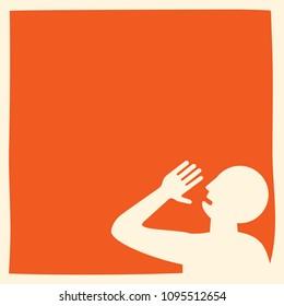 shouting men: message communication template