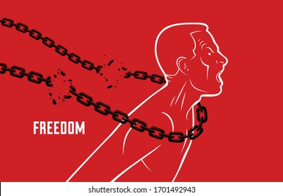 Shouting and screaming man trying to break the chain struggling for freedom, fight and liberate concept, liberty and human rights vector conceptual illustration.
