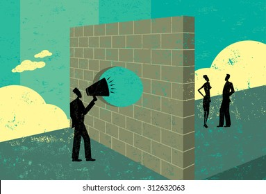 Shouting through a brick wallA businessman overcoming a barrier to communicate with potential clients.  The people & brick wall and the background are on separate labeled layers.