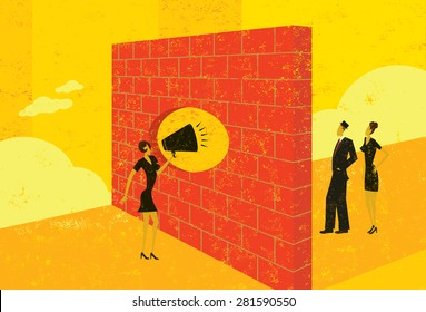 Shouting through a brick wall A businesswoman overcoming a barrier to communicate with potential clients.  The people & brick wall and the background are on separate labeled layers.