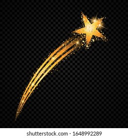 Shoutout star flying stardust isolated on black background