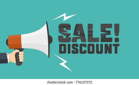 Shouts megaphone. Announcement of discount. Vector Design