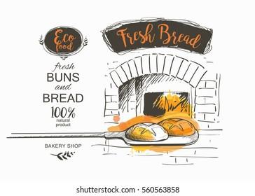 shovel baked bread oven vector illustration