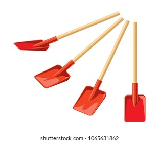 Shovel from different angles isolated on white background. Red work tool in different positions for outdoor activities, digging, gardening. Garden tools.