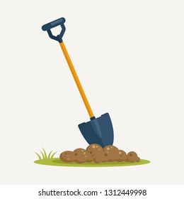 Shovel in dirt, spade with soil landscaping isolated on background. Garden tools, digging element, equipment for farm. Spring work. Vector cartoon flat design