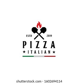 shovel and flame pizza logo design vector