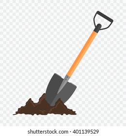 Shovel in the ground. Gardening tool on checked background. Isolated shovel in heap of soil