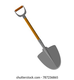 A shovel with a handle. Ferrule. Wooden staff. Isolated. White background