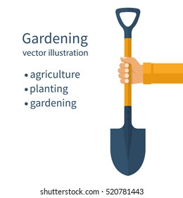 Shovel holding in hand. Gardening, agriculture, planting concept. Dig the ground. Vector illustration flat design. Isolated on white background. Template, space,for text.