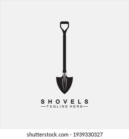 Shovel icon logo vector illustration design.Black Shovel icon logo isolated on white background. Shovel silhouette. Gardening tool. Tool for horticulture, agriculture, farming. Logo design template el
