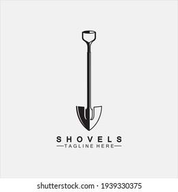 Shovel icon logo vector illustration design.Black Shovel icon logo isolated on white background. Shovel silhouette. Gardening tool. Tool for horticulture, agriculture, farming. Logo design template el
