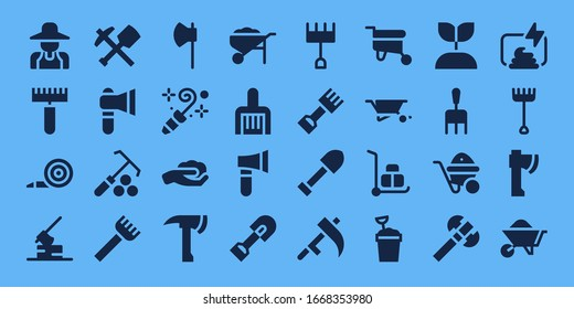 shovel icon set. 32 filled shovel icons. on blue background style Simple modern icons such as: Gardener, Rake, Blower, Axe, Mine, Gardening, Wheelbarrow, Shovel, Scythe, Sand bucket