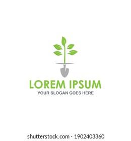 shovel leaf logo vector image