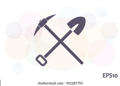 Shovel Pickax icon vector illustration eps10.