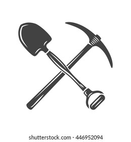 Shovel and pickaxe crossed. Black on white flat vector illustration, logo element isolated on white background