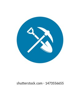 Shovel and pickaxe icon. Simple icon isolated on white background. Shovel and pick axe silhouette. Web site page and mobile app design vector element.