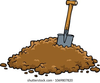 Shovel in a pile of earth on a white background vector illustration