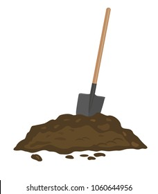 A shovel in a pile of soil. Vector illustration.