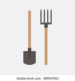 Shovel and pitchfork. The instruments of labor to work on the ground. Tools.