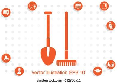 Shovel rake vector icon