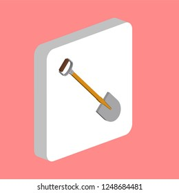 Shovel, Spade Simple vector icon. Illustration symbol design template for web mobile UI element. Perfect color isometric pictogram on 3d white square. Shovel, Spade icons for you business project