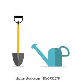 Shovel, spade with water can icon isolated on white background. Garden tool, equipment for farm. Spring work. Vector flat design