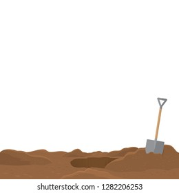 Shovel stuck in the soil isolated