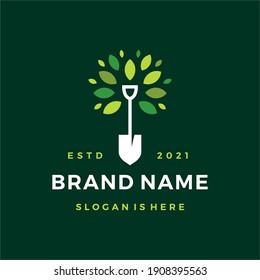 shovel tree leaf spade nature green logo vector icon illustration