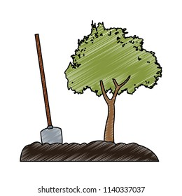 Shovel and tree scribble