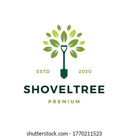 shovel tree sprout garden leaf logo vector icon illustration