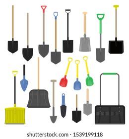 Shovel vector gardening shoveling equipment spade object of agriculture work in garden illustration set of shoveled handle and shovelful farm symbol isolated on white background.
