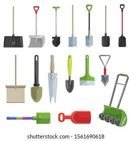 Shovel vector gardening shoveling equipment spade object of agriculture work in garden illustration set of shoveled spaded handle and shovelful farm symbol isolated on white background
