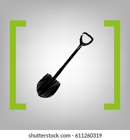Shovel to work in the garden. Vector. Black scribble icon in citron brackets on grayish background.