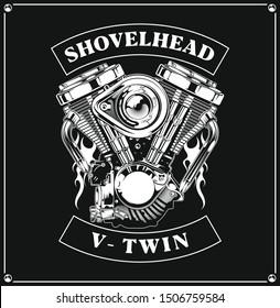 shovelhead vector. v twin machine vector. motorcycle vector. machine vector