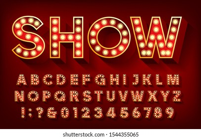 Show alphabet font. 3D letters and numbers with light bulbs and shadows. Vector typescript for your design.