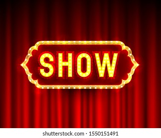 Show banner text on the scene background. Vector illustration