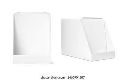 Show box blank mockup for set of  sachet packaging in the  food, cosmetic and hygiene. Vector illustration on white background. Ready for your design. EPS10.