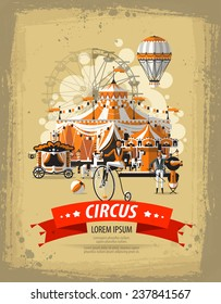 Show. Circus in town. Vector illustration