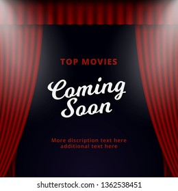 Show coming soon poster promotion vector design. Opened theater stage curtain background with two spotlight illustration.