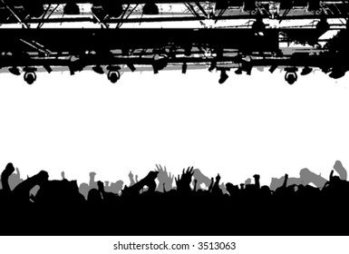 Show Crowd Silhouette. Vector Illustration. No Meshes.