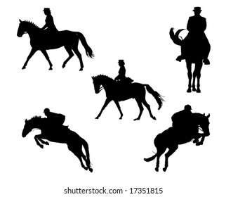 Show horse competition silhouettes